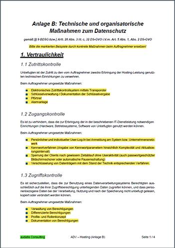 Mustervertrag Auftragsverarbeitung Hosting Auf Basis 11 Bdsg Und